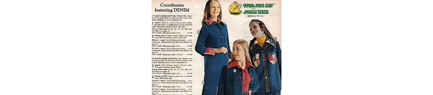Coordinating denim clothing in the 1975 Sears Wish Book