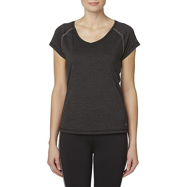 Woman in active layering tee