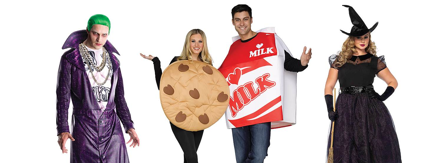 Adults in Halloween costumes