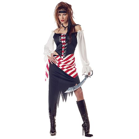 Woman in a Ruby The Pirate Beauty Costume