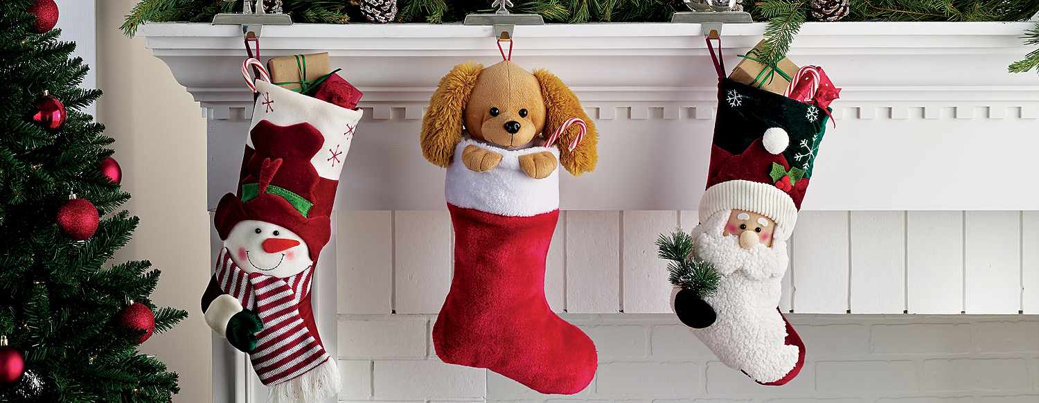 Stockings hung on a fireplace mantle