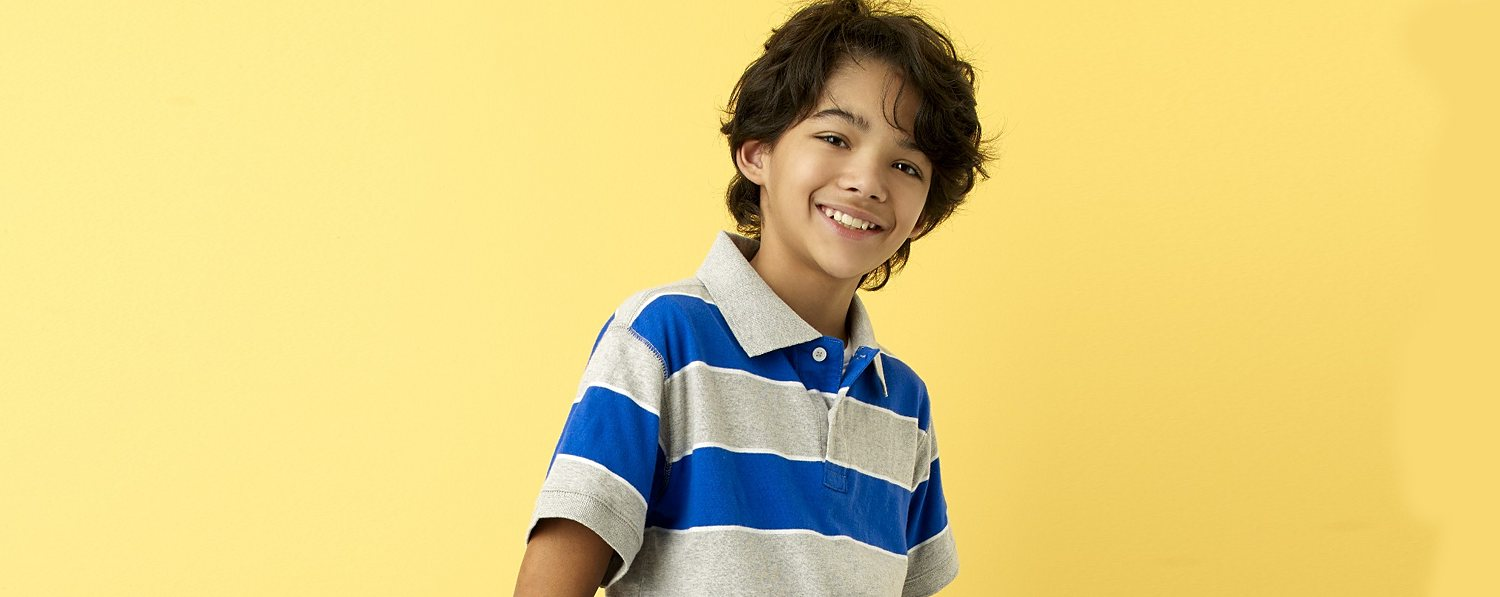 Boy in a Simply Styled striped polo