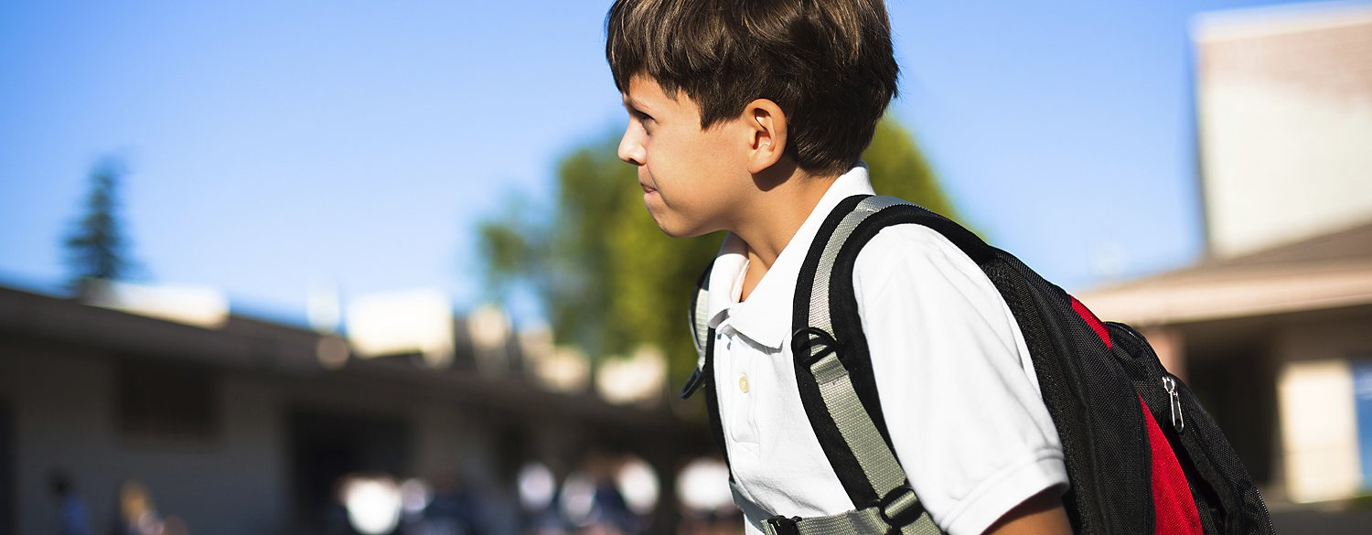Boy heading to school
