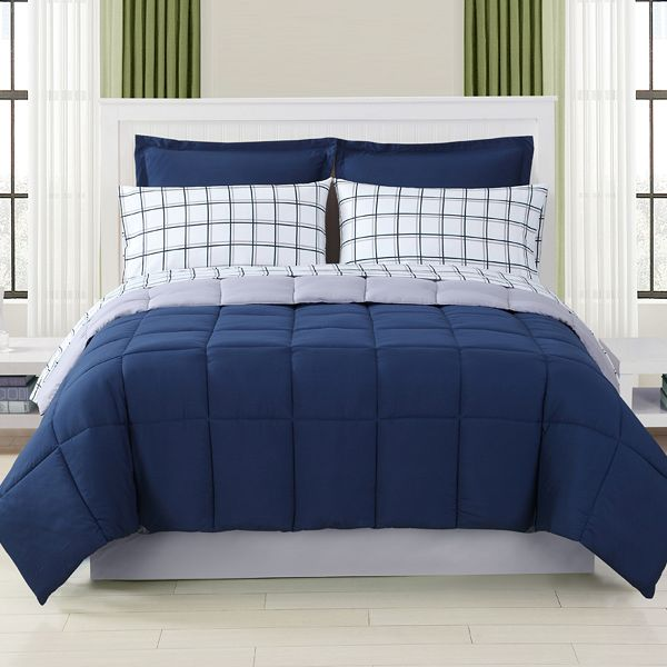 Nautical bedroom with a Colormate Window Pane Complete Reversible Bed Set