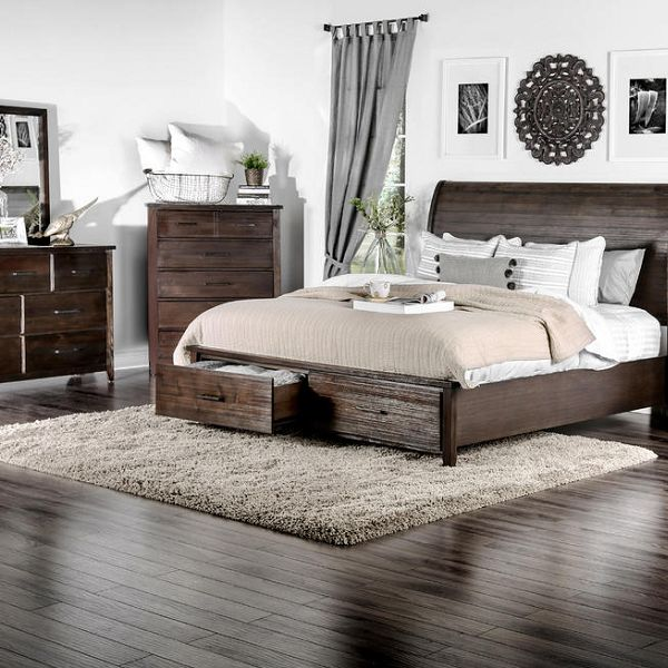 Bedroom with rustic set made of wooden material