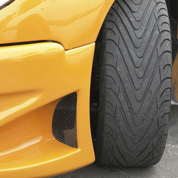 High-performance car tires on sports car