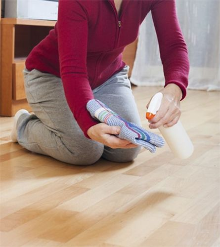 Woman buffing hardwood floor