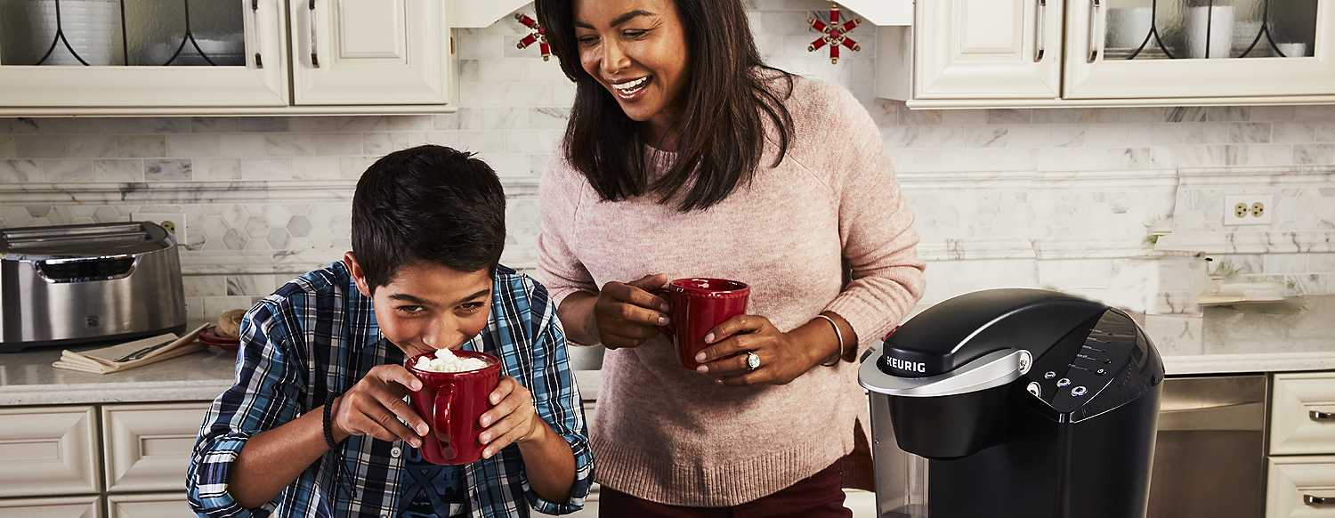 Mom enjoying coffee with her son