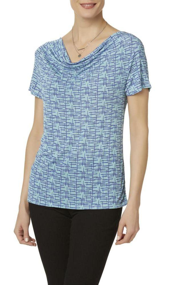 Jaclyn Smith Women's Geometric Cowl Neck T-Shirt