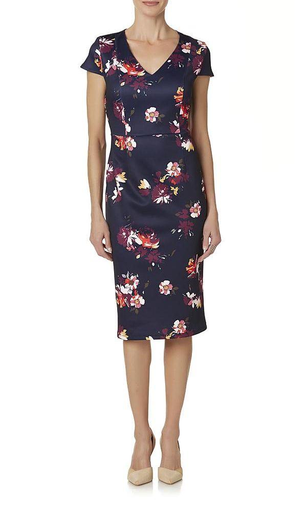 Jaclyn Smith Women's Floral Midi Sheath Dress