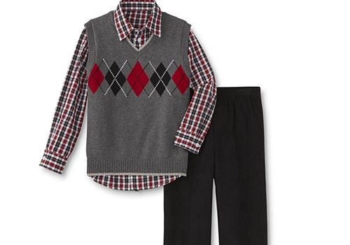 Dockers Boys' Corduroy Pants & Plaid Sweater Vest Set