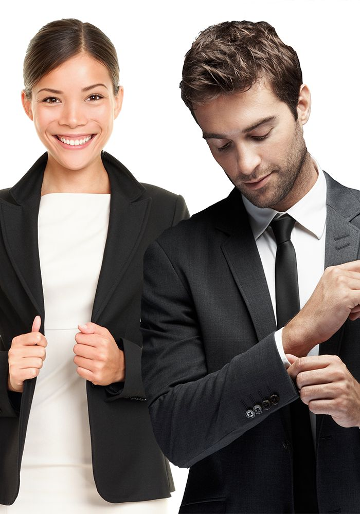 Woman and man in business suits