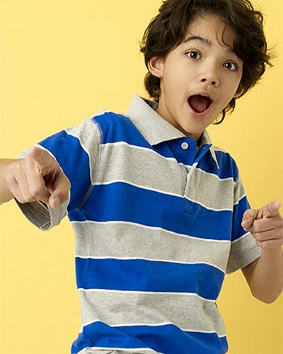 Boy in a Simply Styled Boys' Striped Polo Shirt