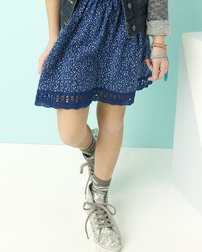 Girl in a Simply Styled Dot-Print Skirt