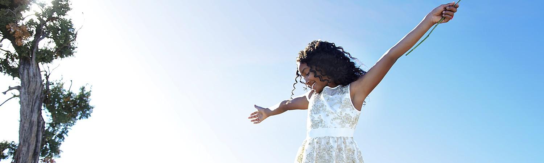 Girl in white Easter dress