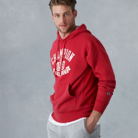 Man in a Champion hoodie