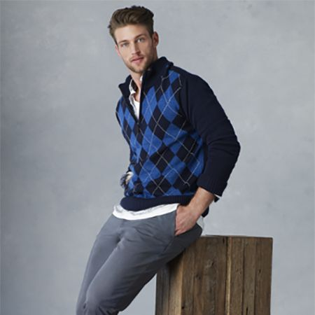 Man in a Simply Styled Men's Argyle Quarter-Zip Sweater