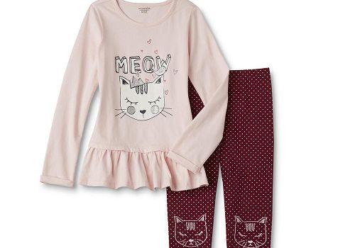 Toughskins Infant & Toddler Girls' Meow Kitty Tunic & Leggings