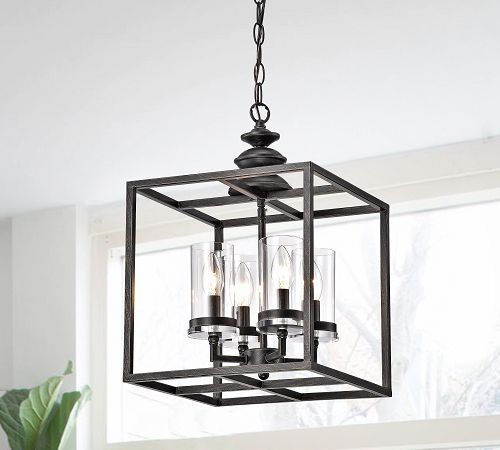 Lantern-style fixture in kitchen