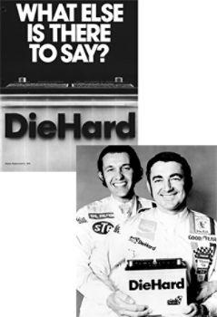 Retro DieHard ad (left), Richard Petty & Bobby Allison with DieHard Battery (right)