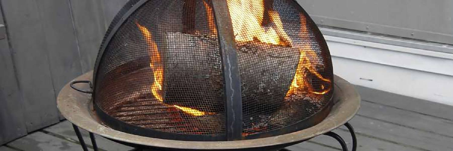 Outdoor firepit in use