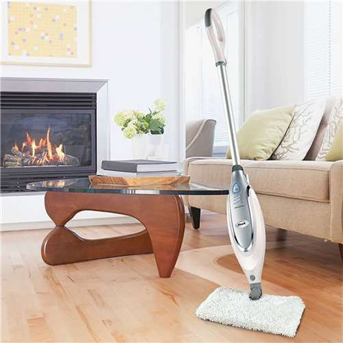 Idle steam mop in a living