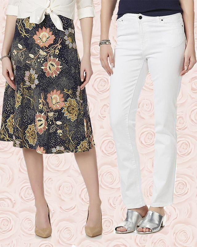 Women in Jaclyn Smith Floral Midi Skirt (left) & Women's Angel Jeans (right)