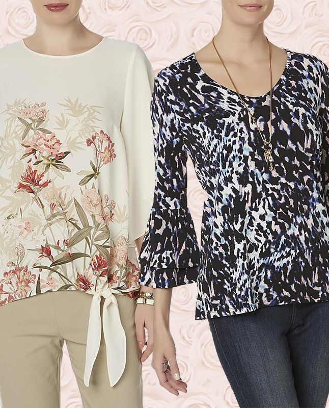 Women in a Jaclyn Smith Women's Floral Kimono Top (left) & Animal-Print Bell Sleeve Shirt (right)