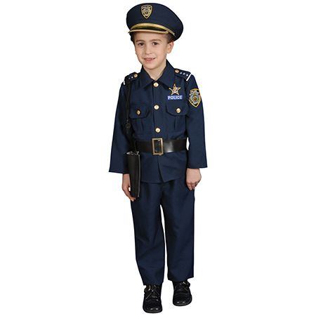Boy in Police Halloween Costume