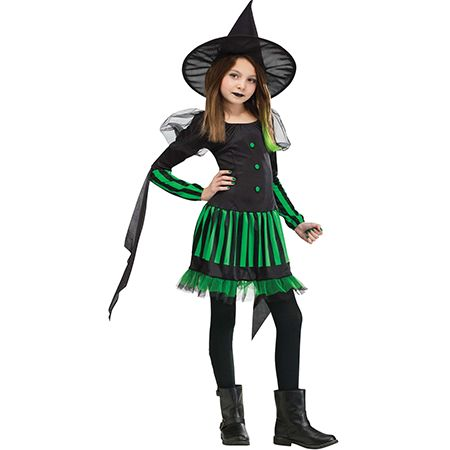 Girl in a Wicked Witch Halloween Costume
