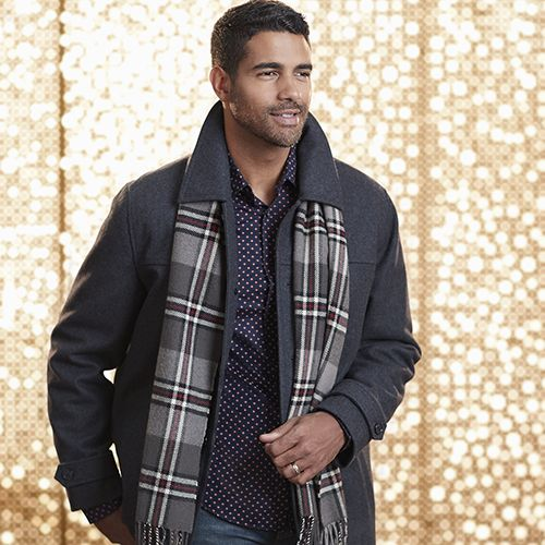 Man wearing a Structure Men's Woolen Peacoat with Plaid Scarf