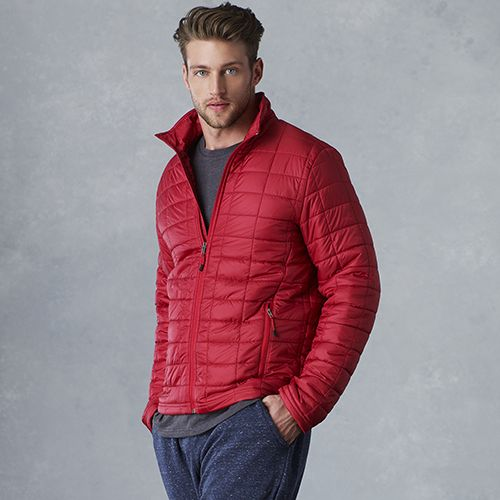 Man in a red men's puffer jacket