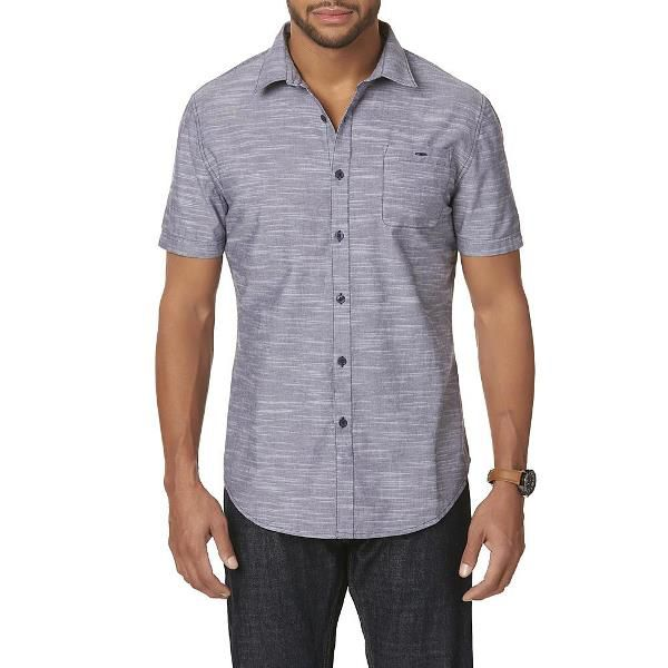 Men's Short Sleeve Button-Front Shirt with Jeans
