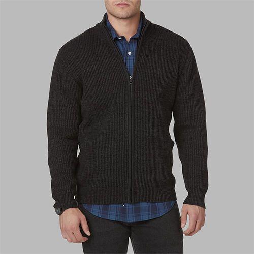 Man in a zip cardigan sweater