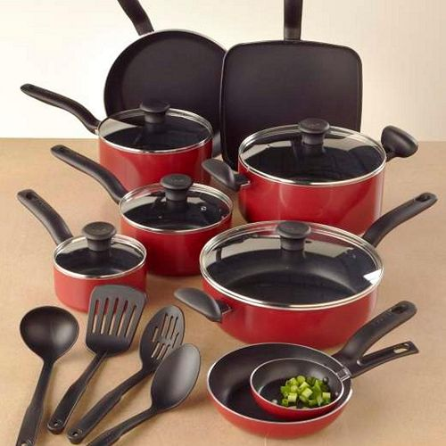 T-fal 18-pc. Nonstick Red Cookware Set on a countertop