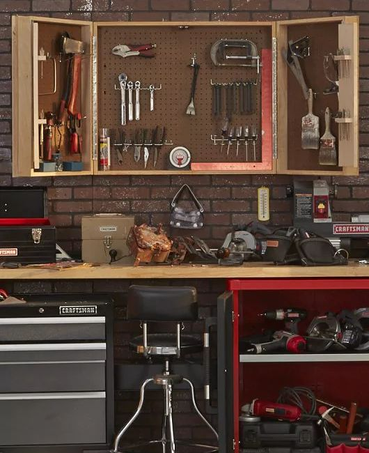 Organized workbench in a garage