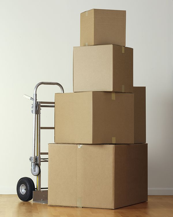 Moving boxes on a dolly