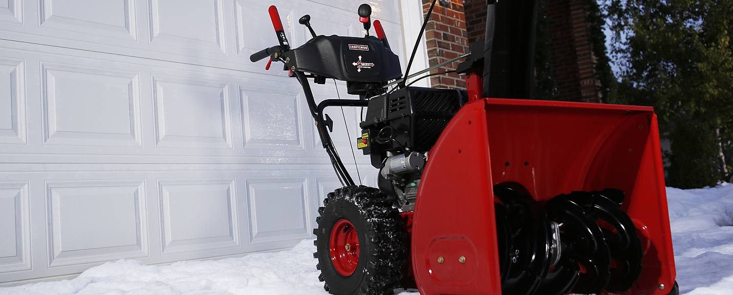 Snowblower on a driveway
