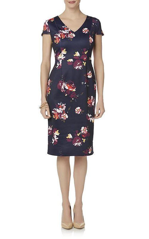 Woman in Jaclyn Smith Midi Sheath Floral Dress