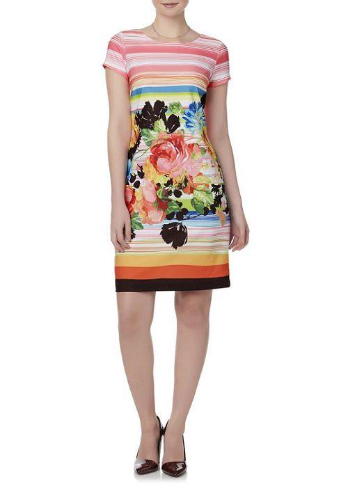 Robbie Bee Women's Sheath Dress - Striped & Floral
