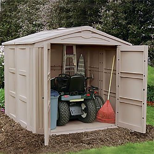 Riding mower in shed