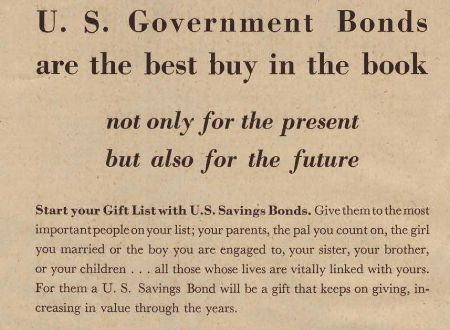 Government bonds in the 1945 Sears Christmas Book