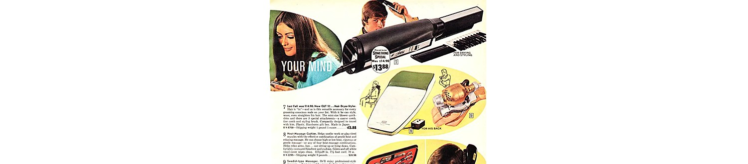 Electric hairbrush in the 1970 Sears Christmas Book
