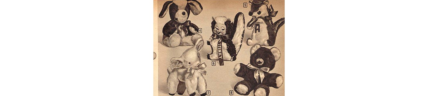 Stinky Skunk stuffed animal in the 1959 Sears Christmas Book