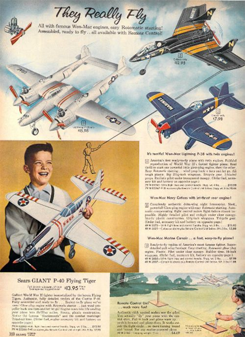 Airplane toys in the 1959 Sears Christmas Book