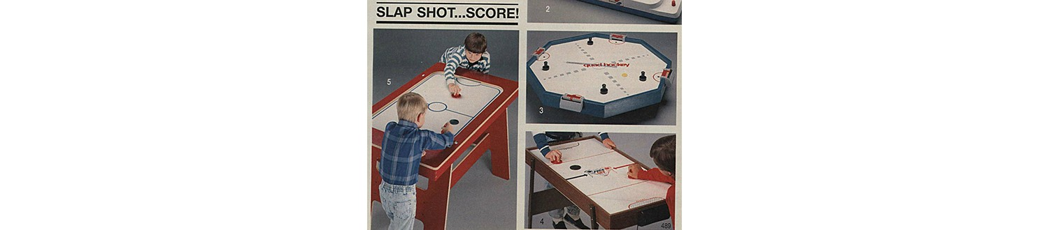 Air hockey tables in the 1991 Sears Wish Book