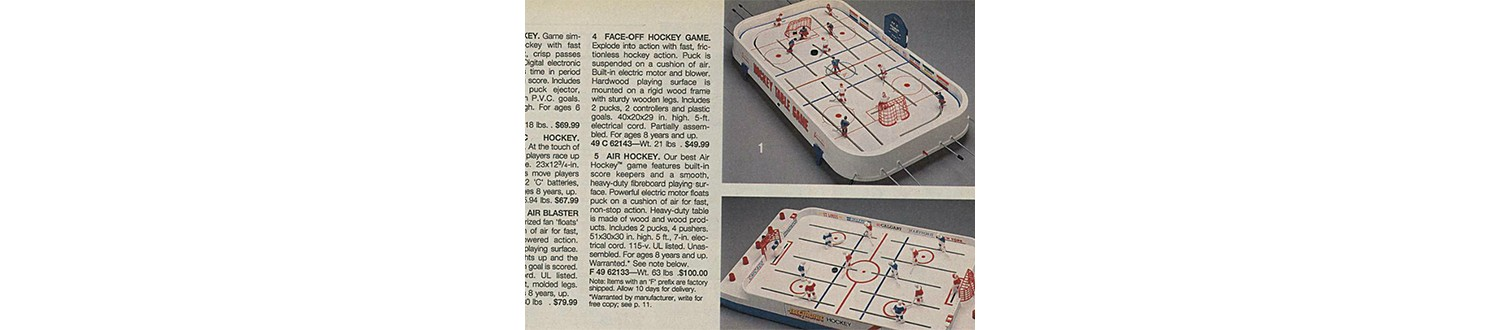 Table hockey game in the 1991 Sears Wish Book