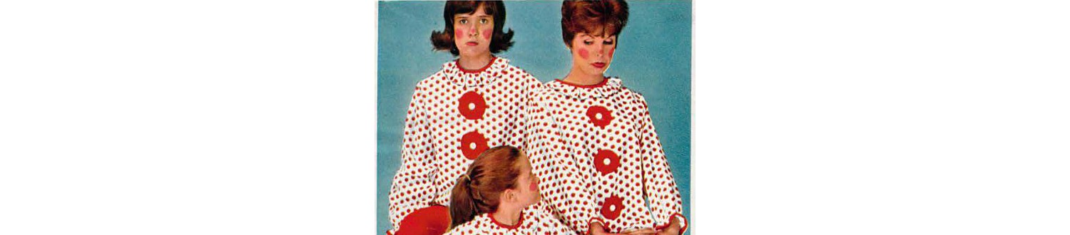 Family in clown pajamas from the 1962 Sears Christmas Book