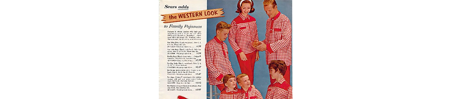 Family in Western pajamas from 1962 Sears Christmas Book