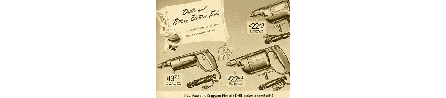 Corded electric drills in the 1948 Sears Christmas Book
